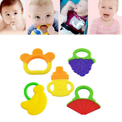 1X Child Baby Feeding Fruit Teething Chewable Teethers Silicone With Rings Toys