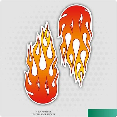 2 X SMALL FLAMES - cool funny kids, car, van decal stickers
