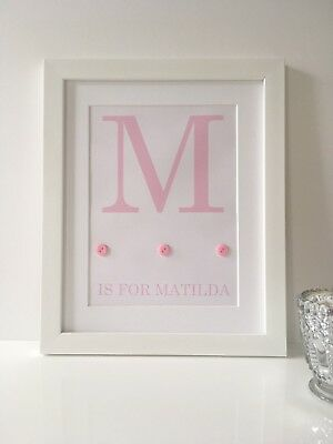 Personalised Baby Nursery Name Print Child Birth Gift Picture Newborn Girl Pink