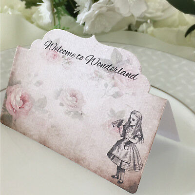 Alice in Wonderland Name Cards, Place Cards, Seat Cards, Wedding Name Cards
