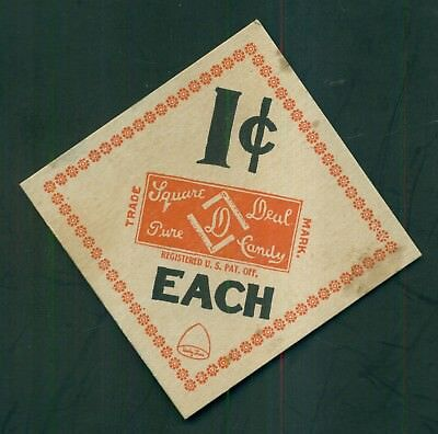 """1910 """"Square Deal"""" Pure Candy 1 Cent Each Store Card"""