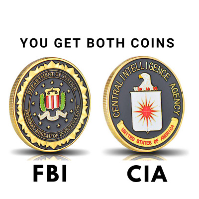Lot OF 2 Federal Bureau of Investigation (FBI) & CIA Challenge Coin Lot