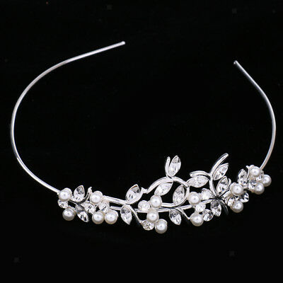 Delicated Lady Crystal Leaves Pearls Headband Headdress Hair Accessories