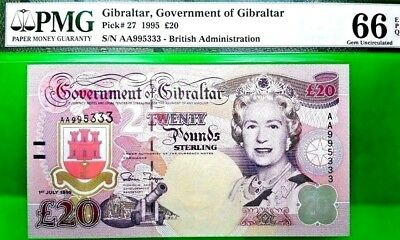 Money Gibraltar Pound 20 1995 Government Of Gibraltar Pmg Gem Unc Pick #27