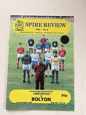 Chesterfield v Bolton Wanderers 1988-89 (FA Cup 1st round replay)