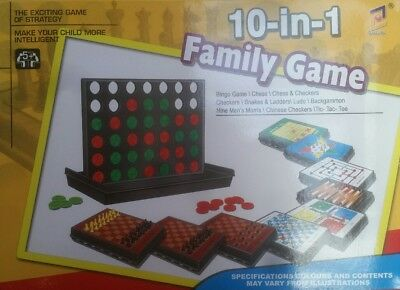10-in-1 Family Games Set Play Fun Activity Board Game Collections