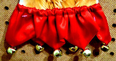 """Christmas Red Sateen w/Jingle Bells Jester Dog Collar 10"""" Neck Size Small"""