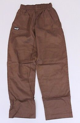 Chefwear Men's Elastic Waist Traditional Cotton Chef Pants Brown CB4 Small