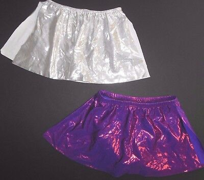 Foil Skirt with attached trunks Cheer Skate Dance Small adult Silver or Grape