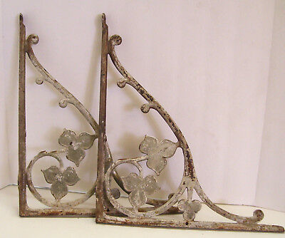 Pair Art Nouveau Steel Brackets Leaf and Clover 18x15.5 In Chipped Paint Antique