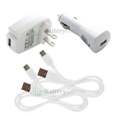 2 USB Type C Cord+Car+Wall Charger Plug for Motorola Moto Z / Force / Play Droid