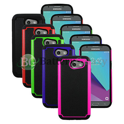 Lot of 5 Black/Blue/Green Hybrid Rubber Matte Case for Samsung Galaxy J3 Emerge