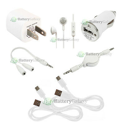 7 pc 2x USB Type C Cable+Car/Wall Charger for ZTE Imperial Max 2 / Zmax Pro