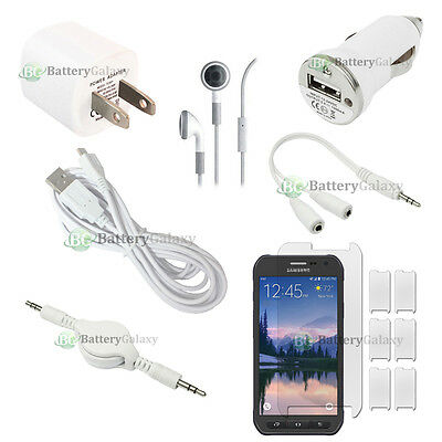 12pc USB 10' Cable+2X Charger+LCD Protector for Phone Samsung Galaxy S6 Active