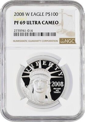 2008 W $100 Proof Platinum American Eagle NGC PF69 Ultra Cameo