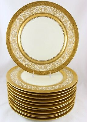 Arts & Crafts Style Set 12 Dinner Plates Heinrich Raised Gold Encrusted Flowers