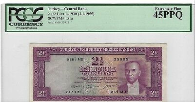 P-151a 1930 2 1/2 Lira, Turkey- Central Bank, PCGS 45PPQ Extremely Fine, Nice!