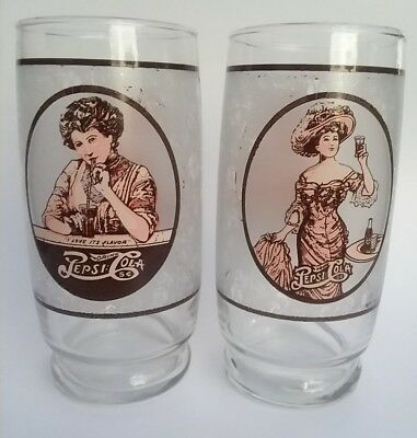 2 Drink Pepsi Cola Soda Gibson Girl Glasses 16 ounces I Love Its Flavor Vintage
