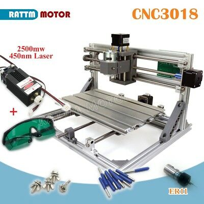 CNC 3 Axis 3018 GRBL Control DIY Laser Machine Wood Milling Router&2500mw Laser