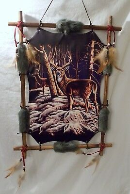 "New Buck Deer in a Snow Covered Woods Wood Frame Dream Catcher 22"" x 16"