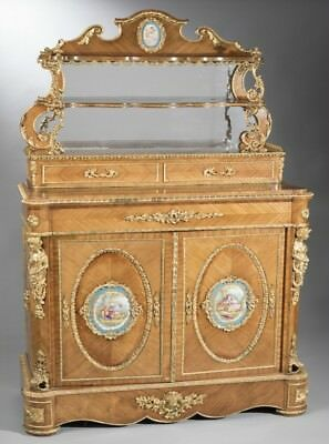 Antique French Veneered Chiffonier hand painted medallion