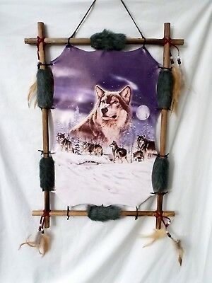 "New Grey Wolf Pack in a snow covered Forest Wood Frame Dream Catcher 22"" x 16"