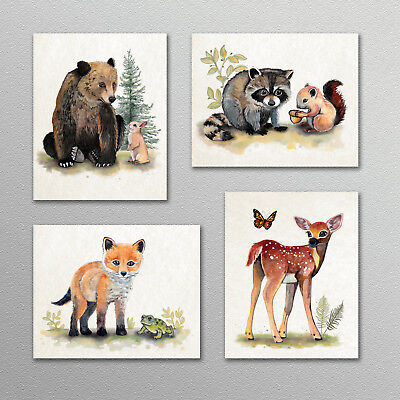 Bear,Fox,Deer,Raccoon Woodland Forest Animal Prints Nursery Art.Wall Decor. CUTE
