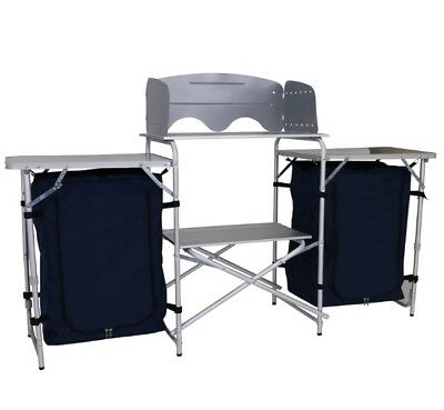 Aluminium Folding Camp Kitchen, Windshield 2 x Side Tables Cupboards & Carry Bag