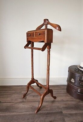 Brand New Solid Timber Mahogany Gentlemans Valet Clothing Stand, Vintage Style