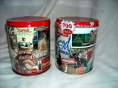 Two Coca Cola  700-Piece Jig Saw Puzzlez In Round Tin Can With Vintage Pictures