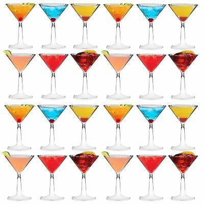 Plastic Martini Cocktail Glasses Outdoor Dining Disposable Cups, 170ml - x24