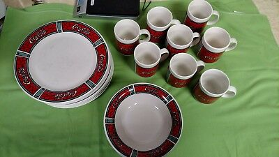1996 Gibson Housewares Coca Cola Stained Glass Pattern - 8 piece place setting