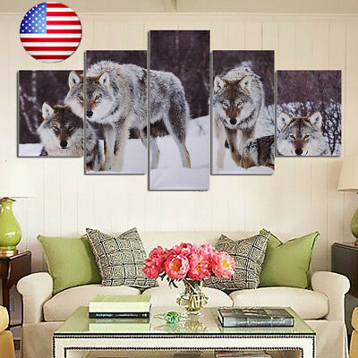 5Pcs Modern HD Wolf Snowfield Wolves Canvas Home Wall Picture Art Oil Painting