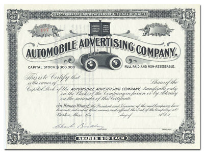 Automobile Advertising Company Stock Certificate (Unique Billboard Car Vignette)