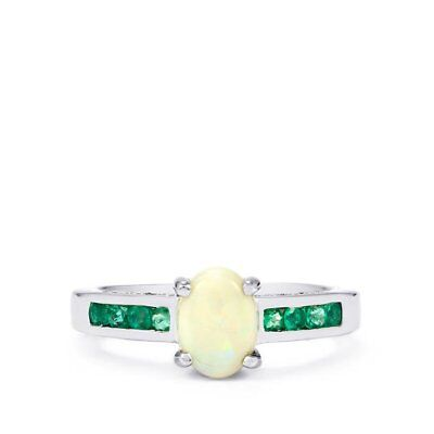 Coober Pedy Opal, Emerald and Diamond Sterling Silver Ring Size 8