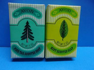 Vintage Lot of 2 Avon Bars of Scented Soap Pine Tar & Mint NOS