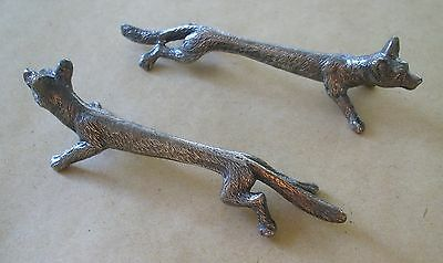 2 Antique Silver Plated Knife / Carver Rests - Running Foxes - Hunting Interest