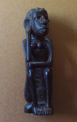 African Carved Hard Wood Figure Of A Seated Woman - French West African Colony?