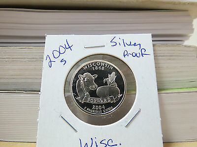 2004 S Silver Gem Proof Wisconsin State Washington Quarter