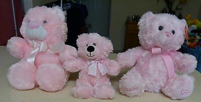 3 Cuddly Pink Plush Bears - Elka -  1 Nwt - Bundeena / Soft Cuddles
