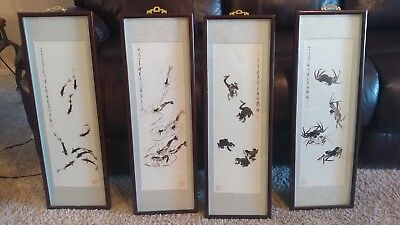 4 vtg  Oriental signed & stamped scroll prints wall hanging fish frog crab lobst
