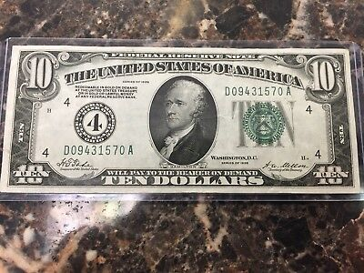 1928 $10 Ten Dollar Gold Note ~ Excellent Condition ~ Free Shipping