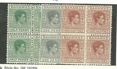 Bahamas, British, Postage Stamp, #100, 101A, 102 Mint NH Blocks, 1938