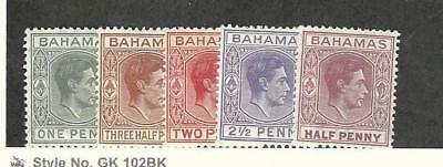 Bahamas, British, Postage Stamp, #101A//154 (5 Different) Mint NH & LH, 1938-52