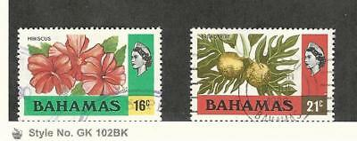 Bahamas, British, Postage Stamp, #398-399 Used, 1976 Flower, Breadfruit