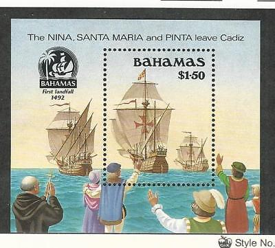 Bahamas, British, Postage Stamp, #692 Mint NH, 1988 Columbus Ship