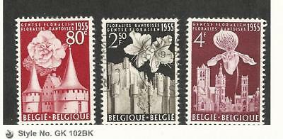 Belgium, Postage Stamp, #482, 484 Mint LH, 483 Used, 1955