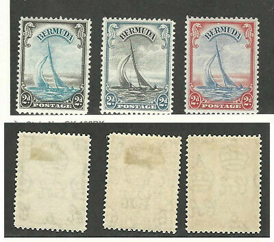 Bermuda, Postage Stamp, #108-109A Mint Hinged, 1936-38 Sail Boat