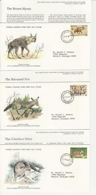 Botswana, Postage Stamp, #182, 184, 186 First Day Covers, 1977 Animals