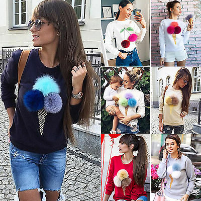 Xmas Women 3D ice cream Sweater Pullover Hoodie Sweatshirt Jumper Long Sleeve GW